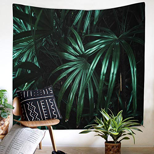 QCWN Tropical Jungle Tapestry Banana Palm Tree Leaf Plants Cactus and Flamingo Themed Print Wall Hanging for Bedroom Living Room Dorm Home Decor Art (5, 78Wx59L)