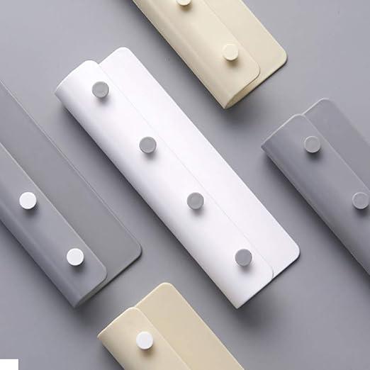 organizador de 4 ganchos para colgar en la pared 1 soporte para llaves de pl/ástico ABS autoadhesivo para colgar en la pared