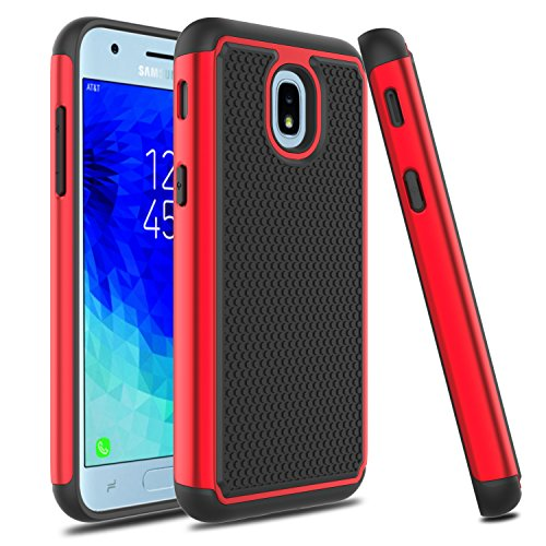 Galaxy J3 2018 Case, Galaxy J3 Star Case, Venoro Slim Hybrid Dual Layer Armor Anti Scratch Shockproof Phone Protection Case Cover for Samsung Galaxy J3 Achieve/Amp Prime 3 2018 (Red/Black)