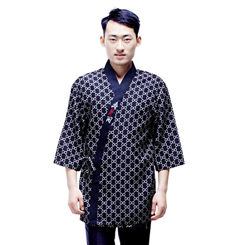 Jiyaru Unisex Sushi Chef Jacket Japanese Kitchen Uniform Sushi Workwear Coat Asian 2XL for $<!--$20.14-->