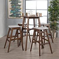 Simi Natural Walnut Finish Circular 5 Piece Bar Height Dining Set (Light Beige)