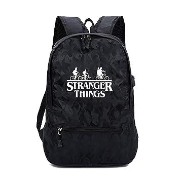 Stranger Things Mochila Escolar,Stranger Things 3 Mochila Adolescentes Stranger Things Bolsa para Mujer Hombre Port/átil Backpack para Ni/ños y Ni/ñas Unisex Casual Hombro Mochila con USB Puerto Negro
