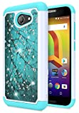 Alcatel Zip LTE A577VL A576BL, Alcatel A30 (AT&T/T-Mobile), Alcatel Kora, NageBee Glitter Diamond Hybrid Protective Soft Silicone Cover with [Studded Rhinestone Bling] Cute Case (Plum)