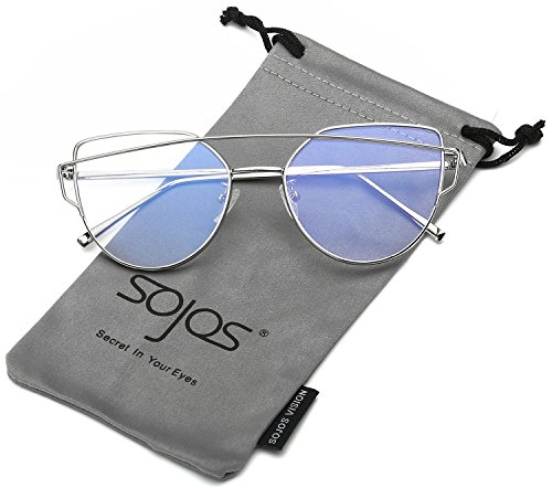 SojoS Fashion Twin-Beams Metal Frame Cat Eye Women Clear Lens Glasses SJ1001 With Silver Frame/Clear Lens