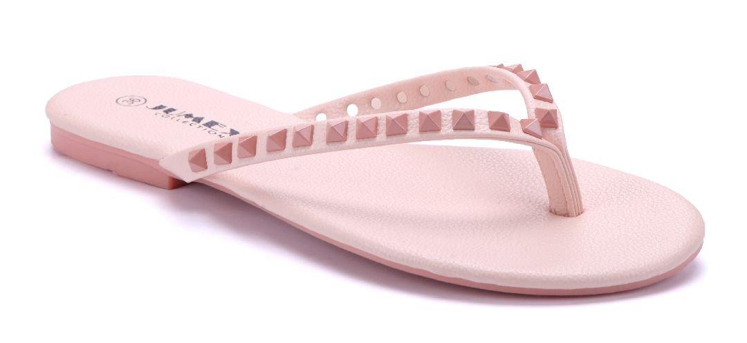 Schuhtempel24 Damen Schuhe Zehentrenner Sandalen Sandaletten Flach Nieten  37 EU|Rosa