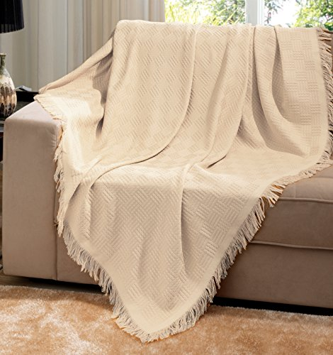 Dohler Beige Brazilian Cotton London Throw Blanket With Frin
