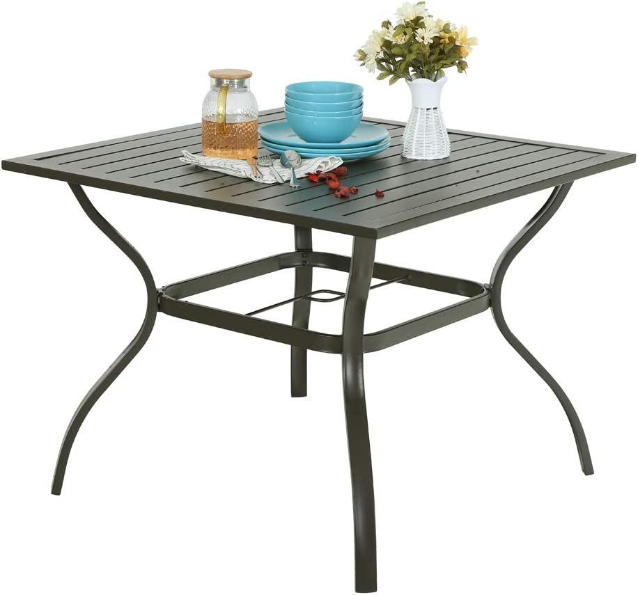 PHI Villa Metal Steel 37 inch Patio Slat Dining Table with Umbrella Hole - Brown