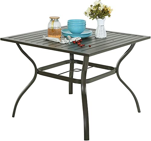 PHI VILLA Metal Steel 37 inch Square Patio Slat Dining Table with Umbrella Hole – Brown