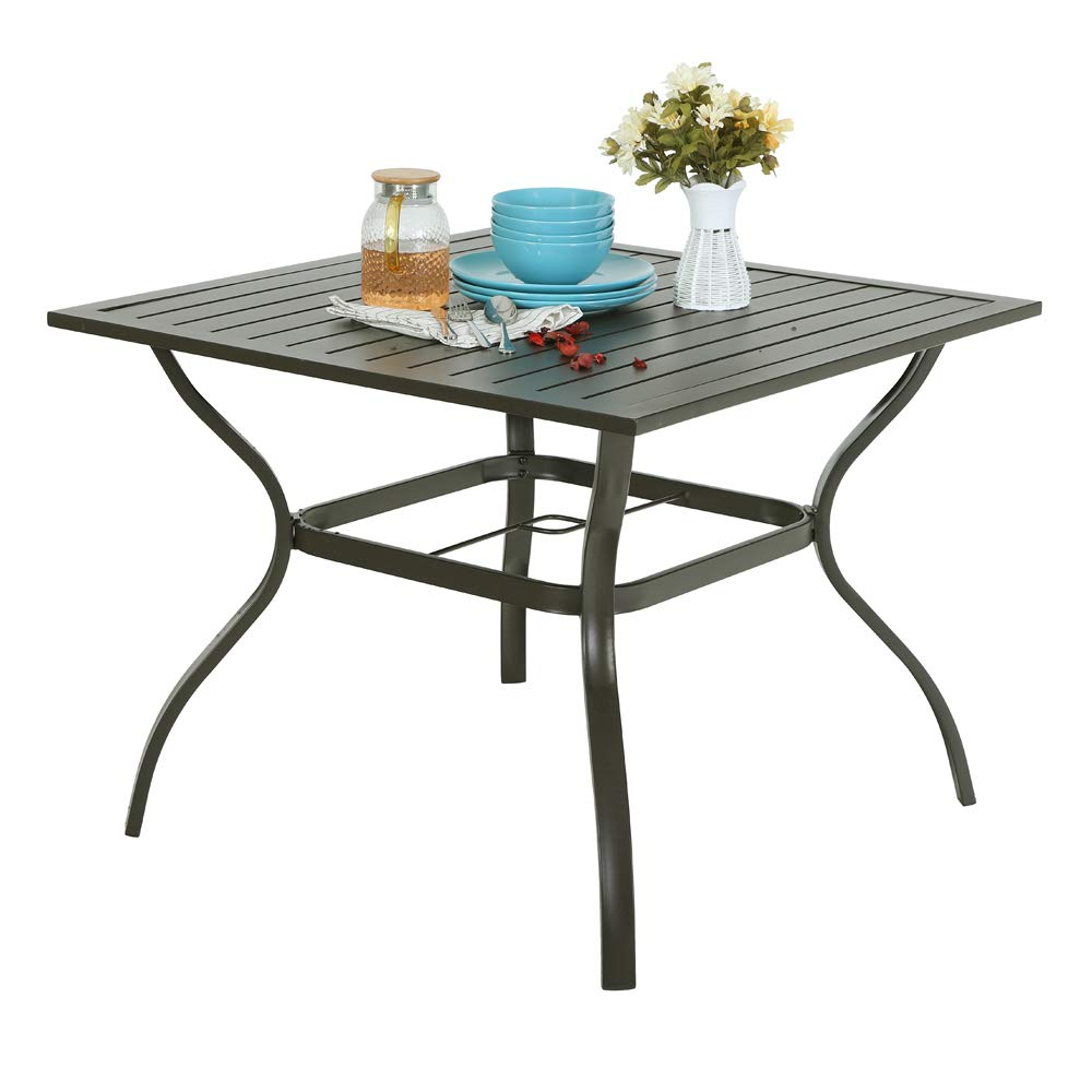 PHI Villa Metal Steel 37 inch Patio Slat Dining Table with Umbrella Hole – Brown