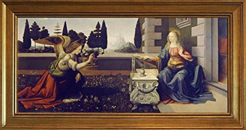 (Berkin Arts Framed Leonardo da Vinci Giclee Canvas Print Paintings Poster Reproduction(Annunciation))