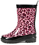 Outee Girls Kids Wellies Wellingtons Rain Boots Waterproof Rubber Boots Children Pink Leopard Print Rear Puller Cute Design (Size 1)