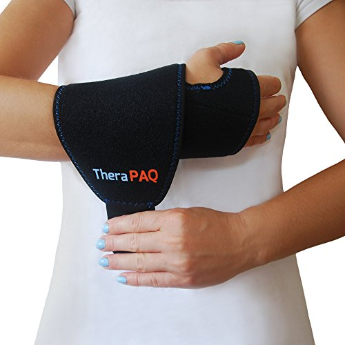 Wear Hand Wraps - Wrist Ice Pack Wrap by TheraPAQ: Hand Support Brace with Reusable Gel Pack - Hot & Cold Therapy Relief from Carpal Tunnel Pain, Rheumatoid Arthritis, Tendonitis, Injuries, Swelling, Bruises & Sprains
