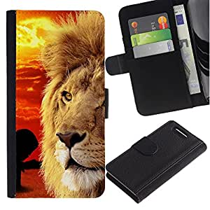 iKiki Tech / Cartera Funda Carcasa - Mane African Savannah Red Sunset Lion - Sony Xperia Z1 Compact D5503