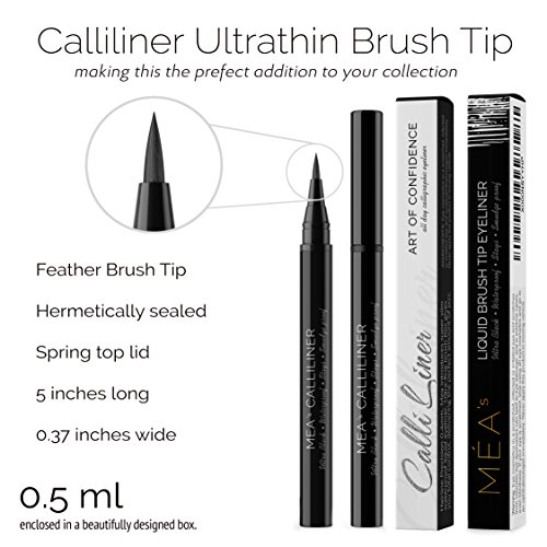 Waterproof Liquid Eyeliner - Mea's Calliliner Semi Permanent Ultra Black Eye Liner, Prestige All Day Stay Brush giving you that Wild & Intense Covergirl Beauty - Glitter free Glossy Matt Feather Tip