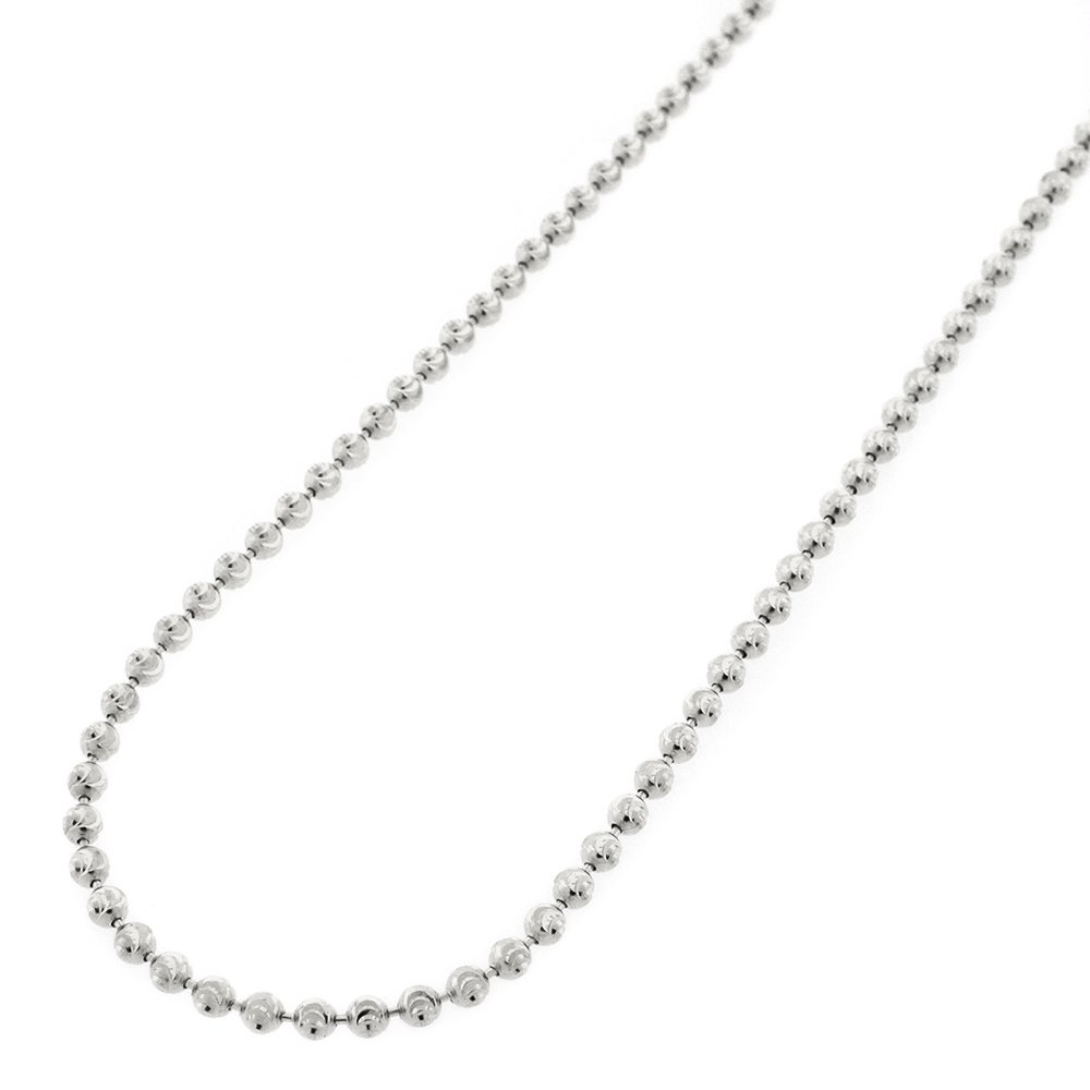 10k White Gold 2mm Moon Cut Ball Bead Solid Necklace Chain 16'' - 30'' (28)