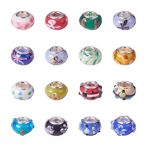 Pandahall 100PCS Mixed Styles Handmade Lampwork Glass European Beads Large Hole Rondelle Beads with Brass Double Cores, Mixed (Rondelle Lampwork Beads)