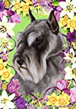 Schnauzer Grey Cropped – Tamara Burnett Easter Flowers Large Flags