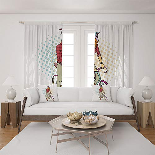 2 Panel Set Satin Window Drapes Living Room Curtains and 2 Pillowcases,Fashion Model Horns Hooves Teenager Boy Colorful ,The perfect combination of curtains and pillows makes your living room warmer from iPrint