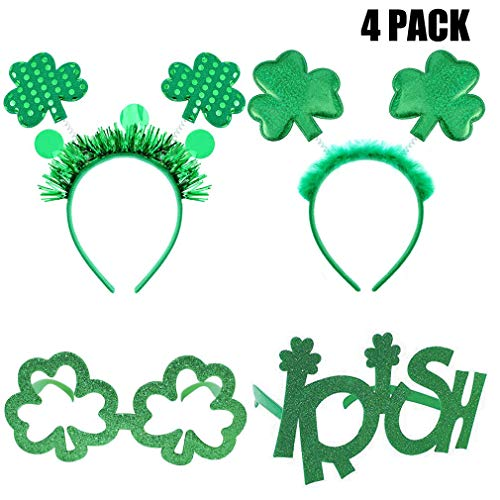 St. Patrick's Day Headbands, Irish Clover Sunglasses Shamrock Headboppers Eyeglasses for Party Costume Accessories Gifts Decorations Photo Props Party Favors Green 4 Pack
