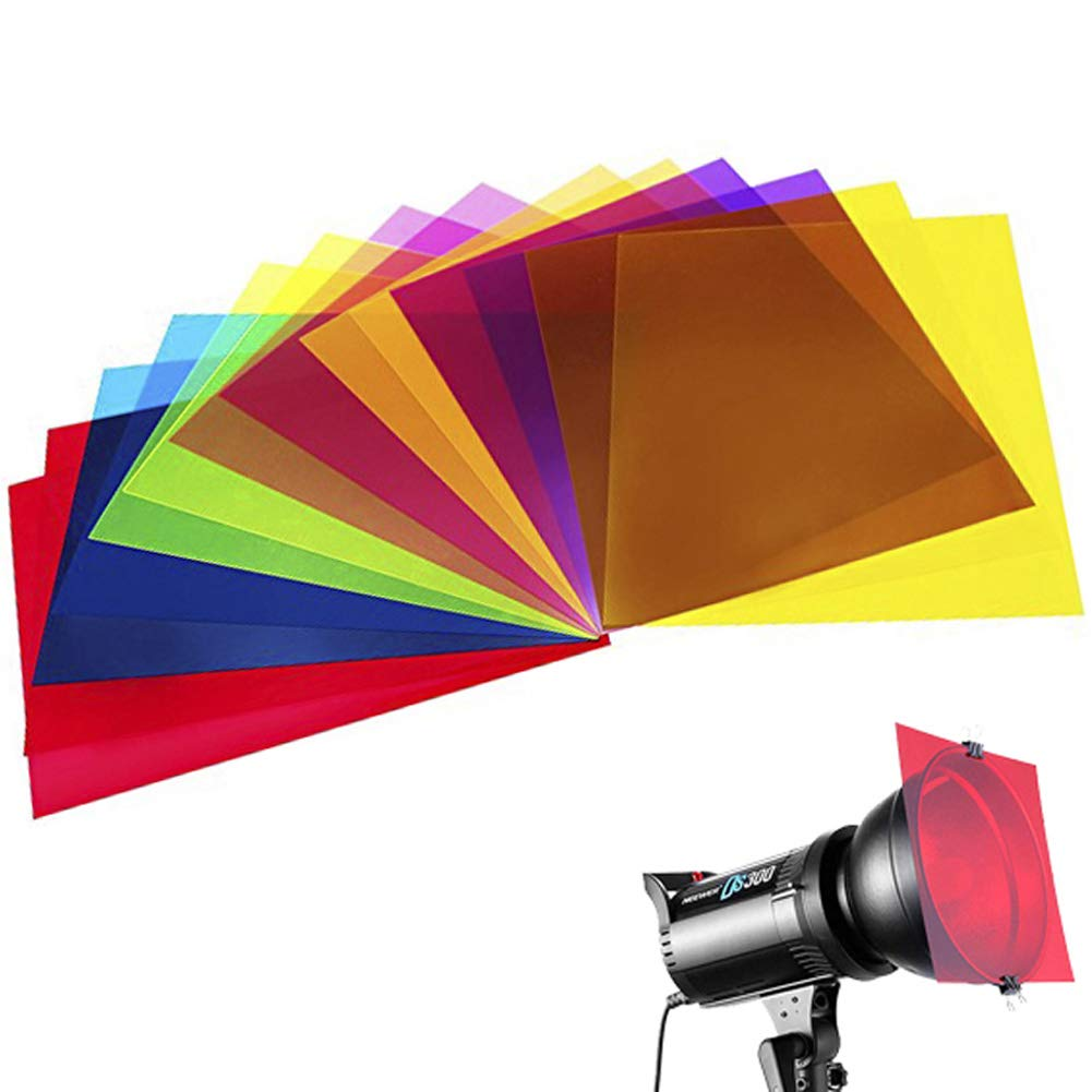 14 Pack Colored Overlays Transparency Color Film Plastic Sheets Correction Gel Light Filter Sheet, 8.5 by 11 Inch,7 Assorted Colors by color mogu