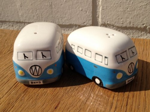 Camper Van Hippy Bus Salt and Pepper Pots - Sky Blue