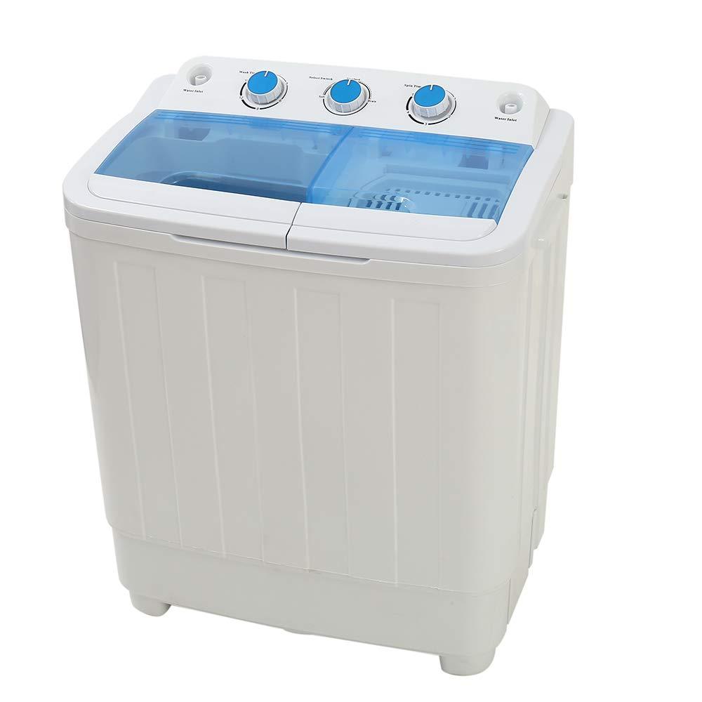 Twin Tub Washing Machine (4.6KG Washing + 3KG Drying) Mini Portable asher Spin Dryer Compact 240W EU CE CB ROHS Certification (Black) willkey
