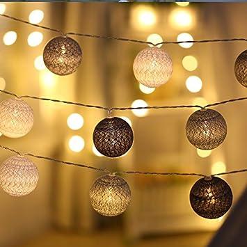 Guirlande Lumineuse Led, DOTBUY Intérieur Blanc Chaud Pile Lumiere  Décoration Chambre Enfant Boules Coton Batterie