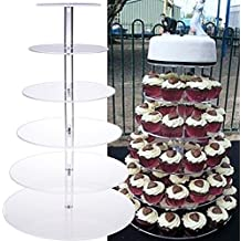 Vividy 6 Tier Round Wedding Cupcake Stand, Crystal Clear Plastic Cupcake Tower Stand for Christmas Party