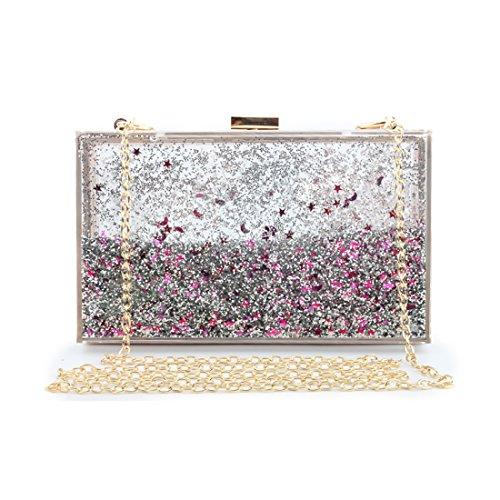 SABARRY Women Glitter Transparent Evening Bag Clutch Purse Shoulder Bag