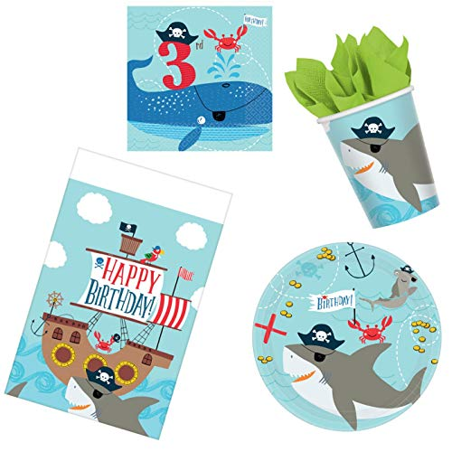 Ahoy Boy Third Birthday Supplies Bundle 50 Pieces | Pirate Themed 3rd Birthday Pack for 16 Guests | Includes Plates, Napkins, Cups, Table Cover and Party Planning eBook (Basic ParteePak)