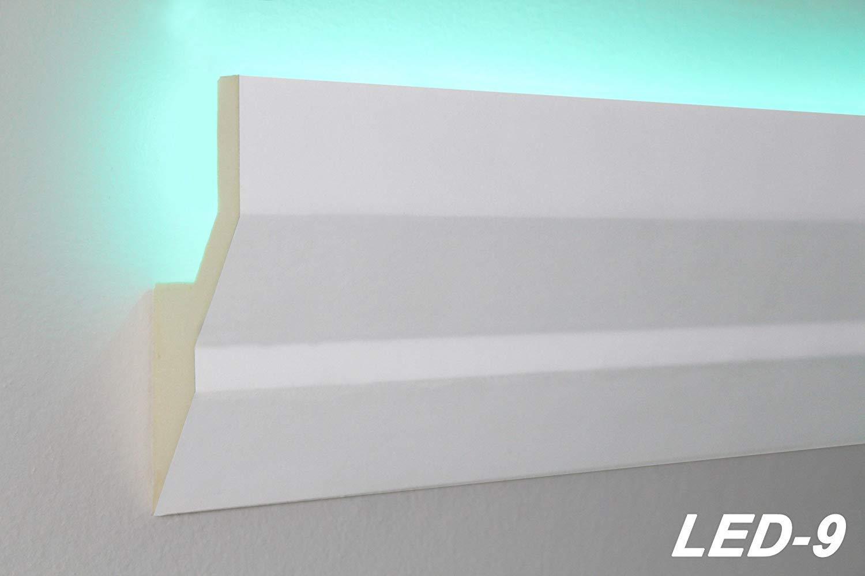 LED-9 30 M/ètres PU Profil Coinc/é Moulure en Stuc Lumineuse LED Stuc Antichoc 100x40