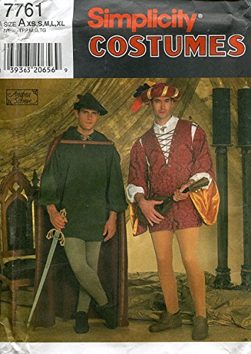 Simplicity Costumes Pattern 7761 Men's or Teen Boy's Medieval Shirt, Tunic, Cape, Leggings and Hat, Size A (XS-XL)