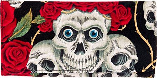 Cotton Tri Fold Wallet (Black) (Black Skull Tri Fold Wallet)