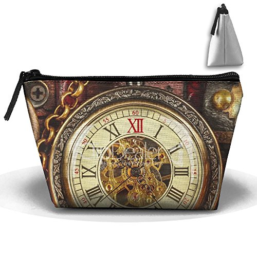 RobotDayUpUP Antique Clock Close Up Vintage Pocket Watch Womens Travel  Cosmetic Bag Portable Toiletry Brush Storage