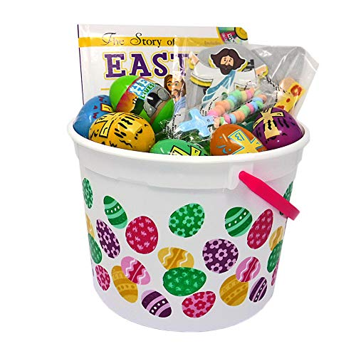 - Pre-Filled Religous Easter Basket for Kids with Eggs, Candy, Book, and Craft (Easter Eggs)