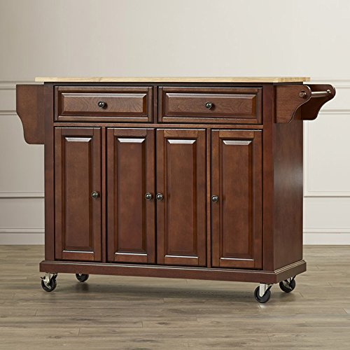 Top Mahogany Kitchen Island (Large kitchen Island With Wood Top - Contemporary Storage Cabinet for Dining Room - Butcher Block Top (Mahogany))
