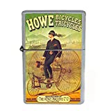 Wind Proof Dual Torch Refillable Lighter Vintage Poster D-150 Howe Bicycles Tricycles Howe Machine