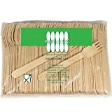 """Perfect Stix Green Fork 140-1000ct Birchwood Compostable Cutlery Fork, 5-1/2"""" Length (Pack of 1000)"""
