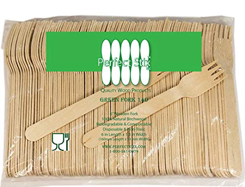 - Perfect Stix Green Fork 140-1000ct Birchwood Compostable Cutlery Fork, 5-1/2