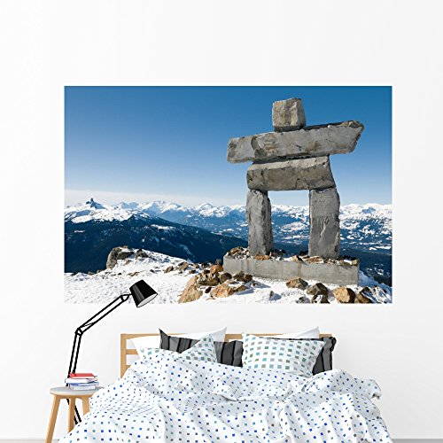 Wallmonkeys Inukshuk Top Whistler Mountain Wall Mural Peel and Stick Graphic (72 in W x 48 in H) -