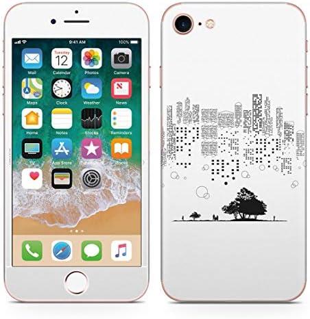 igsticker iPhone SE 2020 iPhone8 iPhone7 専用 スキンシール 全面スキンシール フル 背面 側面 正面 液晶 ステッカー 保護シール 008138 クール 白黒 街 風景 建物