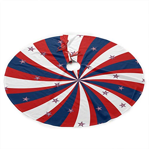 - NGFF Patriotic Pinwheel Design Star Flag Stripes Cute Santa and Snowman Dolls Design Christmas Tree Skirt Gorgeous Xmas Tree Decoration Skirt