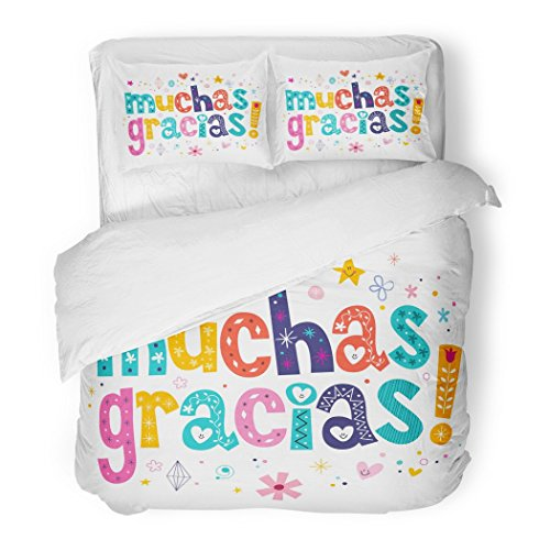 SanChic Duvet Cover Set You Muchas Gracias Many Thanks in Spanish Mexican Label Text Spain Decorative Bedding Set with 2 Pillow Shams Full/Queen Size by SanChic