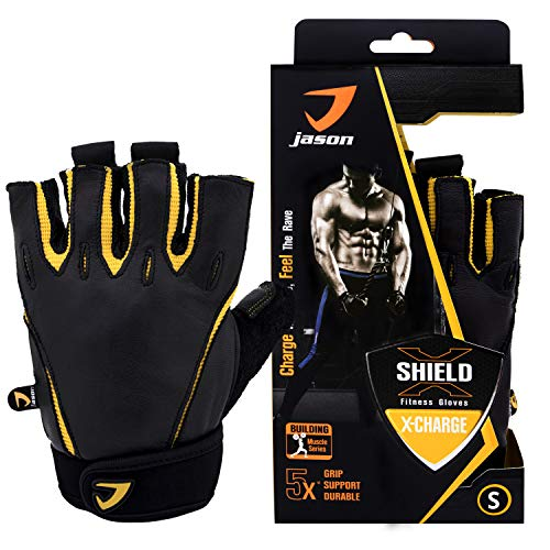 Kuron Store X-Charge Fitness Full Palm Grip Protection Training Sports Leather Gloves