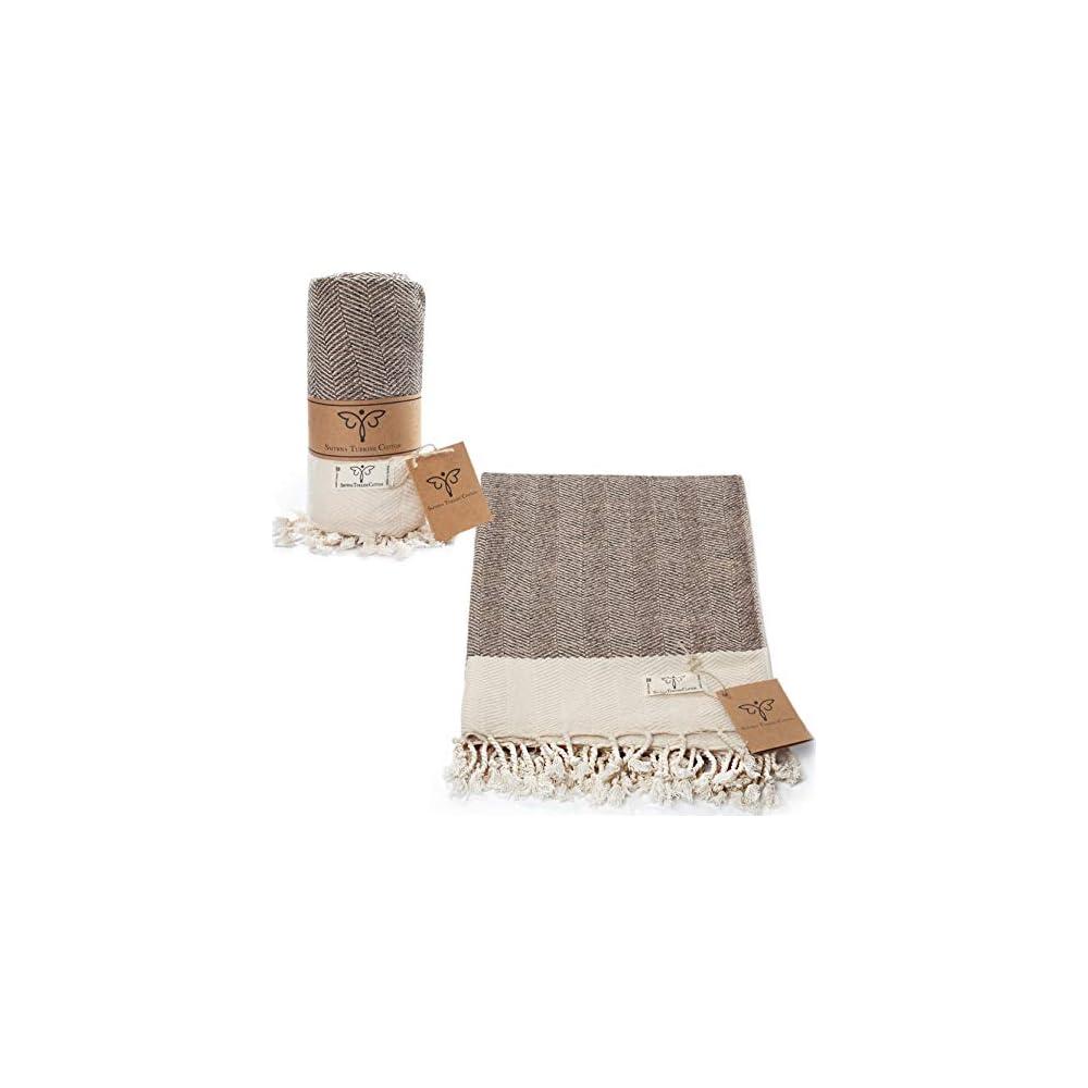 Smyrna Original Turkish Throw Blanket Herringbone Series   100% Cotton, 50 x 60 Inches   Vintage Boho Throw Blankets for…
