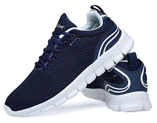 Belilent Uomo Leggero Scarpe Da Corsa Traspirante Scarpe Casual Da Uomo Moda Sneakers Da Passeggio Blu / Bianco-073