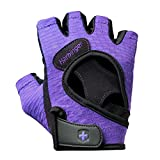 Harbinger Women's FlexFit Weightlifting Gloves with Flexible Cushioned Leather Palm (Pair), Purple, Small