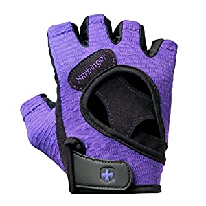 Harbinger Women's FlexFit Wash and Dry Weightlifting Gloves with Padded Leather Palm (Pair), Purple, Large