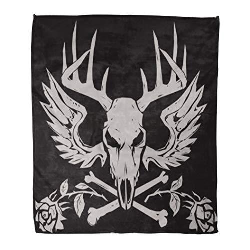 (Golee Throw Blanket Gray Skull Deer Crossbones Antlers Evil Head Wings Emblem Roses 60x80 Inches Warm Fuzzy Soft Blanket for Bed Sofa)