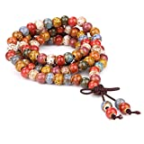 JDZ Amulets Tibetan Buddhist Vintage Style 108 Mix Color Porcelain Prayer Beads Wrist Meditation Mala Bracelet LS082